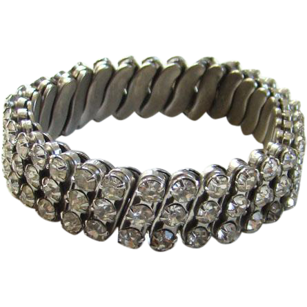 Old Vintage Clear Ice Rhinestone Expansion Bracelet Silvertone Setting Set in USA Made in Japan