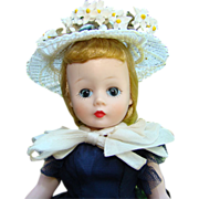 1957 Cissette Doll in Navy Taffeta Dress Hat Madame Alexander Leg Issue