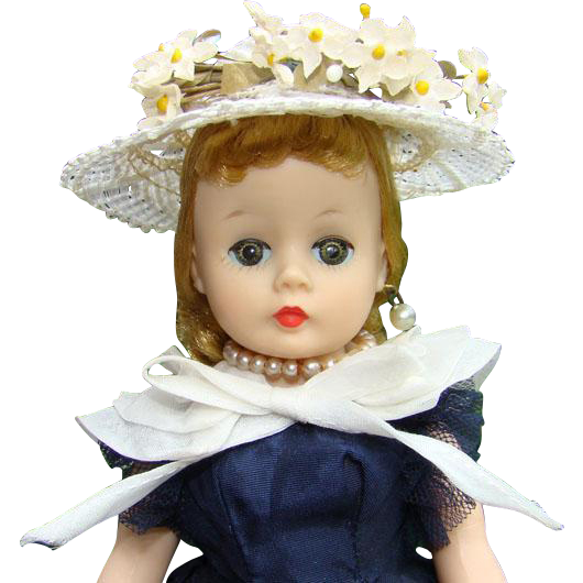 1957 Madame Alexander Cissette Doll in 941 Navy Taffeta Dress White Cape Hat 9 inch