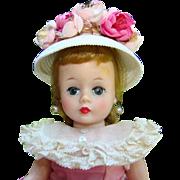 C1958 Cissette Doll in Pink Polished Cotton Dress White Cloche Hat Box Madame Alexander