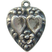 Vintage Sterling Silver Puffy Heart Charm Engraved Sweetheart Repousse Hearts Flowers 1940s World War II Sweetheart Jewelry
