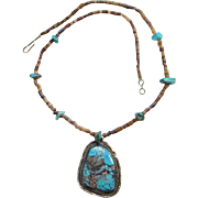 Vintage Navajo Turquoise Pendant Necklace Heishi Beads and Nuggets Native American