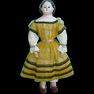 Antique Greiner Style Glass Eye Papier Mache Shoulderhead Doll Handstitched Cloth Body All Original 16 Inch