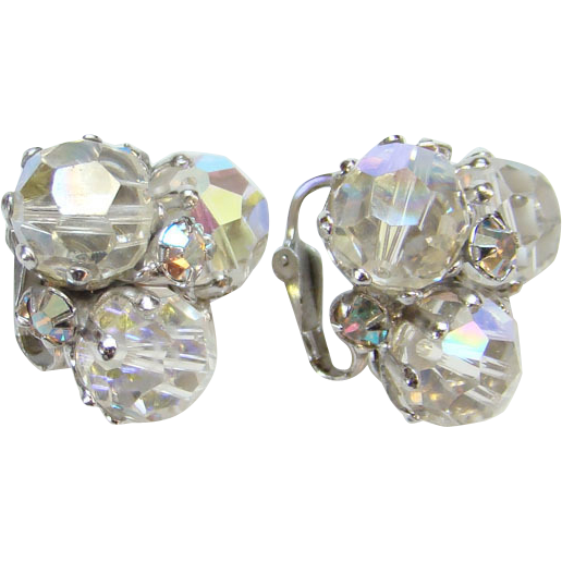 Vintage Vogue Aurora Borealis Crystal Bead Rhinestone Clip Earrings Signed