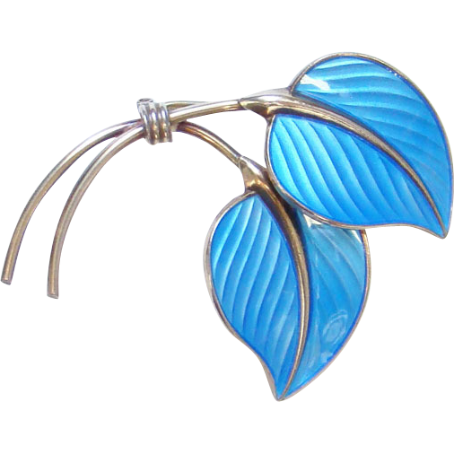 Vintage Hans Myhre Blue Enamel Leaf Pin Gilt Sterling Silver Norway Norwegian