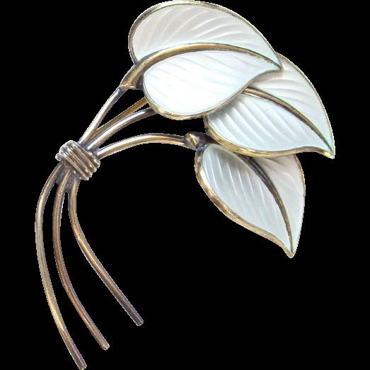 Vintage Norway Norwegian Hans Myhre Gilt Sterling Enamel Pin White Leaves