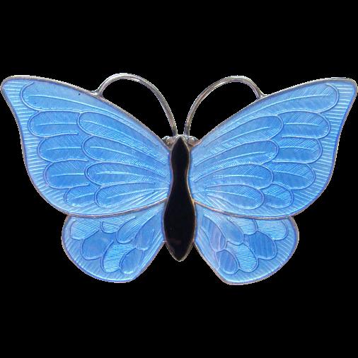 Vintage Denmark Volmer Bahner Butterfly Pin Blue Guilloche Enamel Sterling Silver
