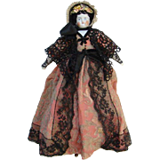 Antique German China Head Doll Cabinet Size 11 Inch Elaborate Dress Hat Museum Deaccession