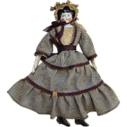 Antique Cabinet Size German China Head Doll 11 Inch Elaborate Original Clothing Museum Deaccession