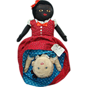 Old Black White Topsy Turvy Doll Red Blue Calico Clothing Large Size 21 Inch Museum Deaccession
