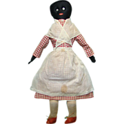 C1900 Black Cloth Rag Doll Red Check Dress Museum Deaccession Embroidered Features 24 Inch
