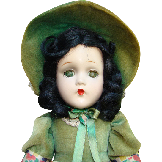 C1940 Scarlett O'Hara Composition Doll Green Velvet Dress Hat Madame Alexander 15 Inch