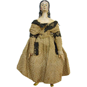 Antique Milliners Model Papier Paper Mache Wood Doll 6 Inch Museum Deaccession