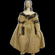Antique Milliners Model Papier Paper Mache Wood Doll 6 Inch Museum Deaccession