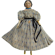 Antique 19thC Greiner Style Milliners Model Papier Mache Wood Doll Original Dress Museum Deaccession