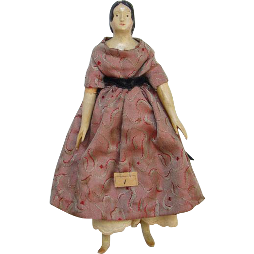 C1840s Milliners Model Papier Paper Mache Wood Doll 7 Inch Fancy Hairstyle Museum Deaccession