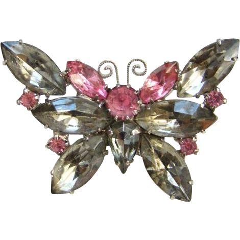 Vintage Butterfly Pin Brooch Pink Smoke Rhinestone Small Size Unsigned Costume Jewelry