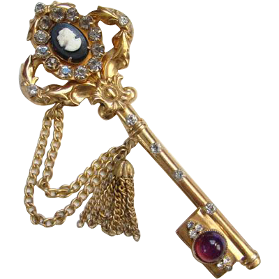 1948 Pegasus Coro Key Brooch With Tassel Detail Possibly Adolph Katz Designer 150429 Signed
