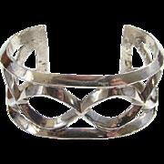 Vintage Southwestern Tribal Sand Cast Cuff Bracelet Sterling Silver 81.2 Grams Bohemian Boho Chic