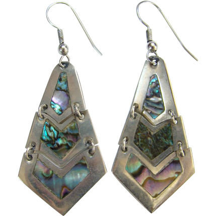 Vintage Alpaca Abalone Shell Pierced Dangle Earrings Mexico Bohemian Boho