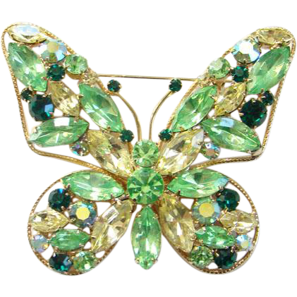 Large Vintage Citrine Emerald Green Rhinestone Butterfly Pin Brooch Wire Frame Costume Jewelry