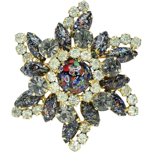 Juliana Rare Star Shaped Brooch Pin with Harlequin Masquerade Multicolor Cabochons Navettes 1960 DeLizza Elster