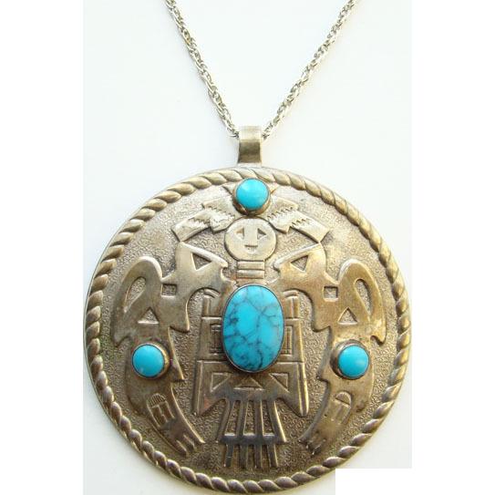 Vintage Pendant Necklace Faux Turquoise Mexican Aztec Mayan Design