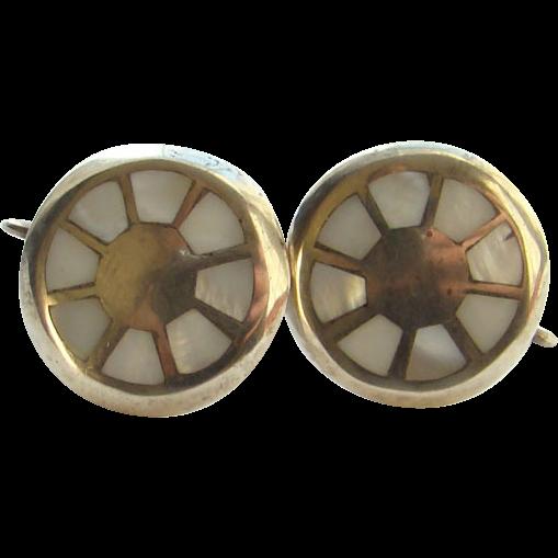 Vintage Sterling Silver Screw Back Earrings Mother of Pearl Inlay