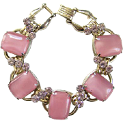 Juliana 1950s Pearly Pink Milk Glass Rhinestone 5 Link Bracelet DeLizza Elster D & E