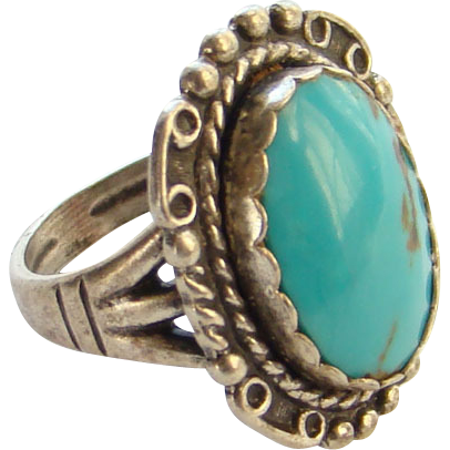 Vintage Navajo Turquoise Ring Marked Sterling Silver Size 6 Signed