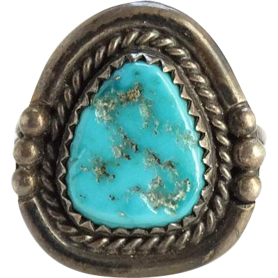 Vintage Navajo Southwestern Sterling Silver and Turquoise Ring Size 6