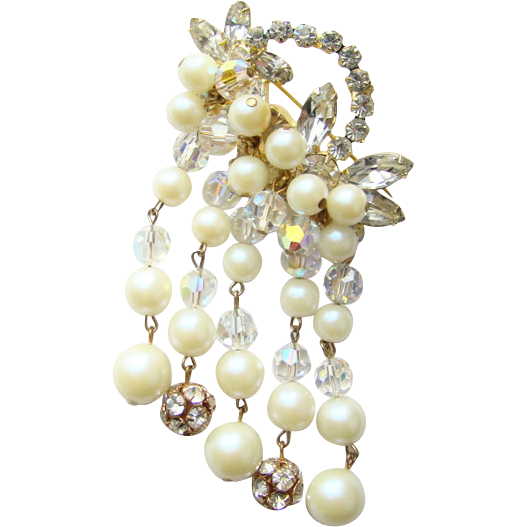 Juliana Dangle AB Crystal Bead Faux Pearl Brooch DeLizza Elster