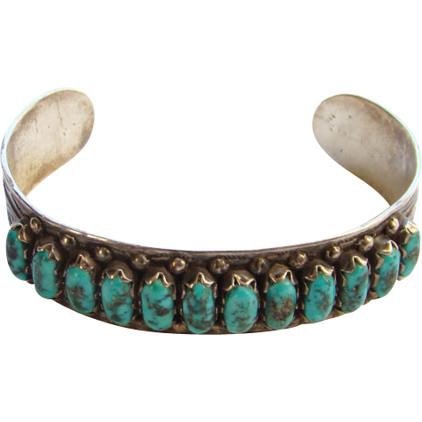 Vintage Zuni Sterling Silver Turquoise Pettipoint Petit-Point Cuff Bracelet Marked CAY ZUNI