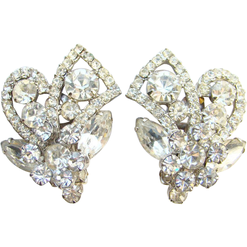 Vintage Juliana Clear Rhinestone Clip Earrings DeLizza Elster Large
