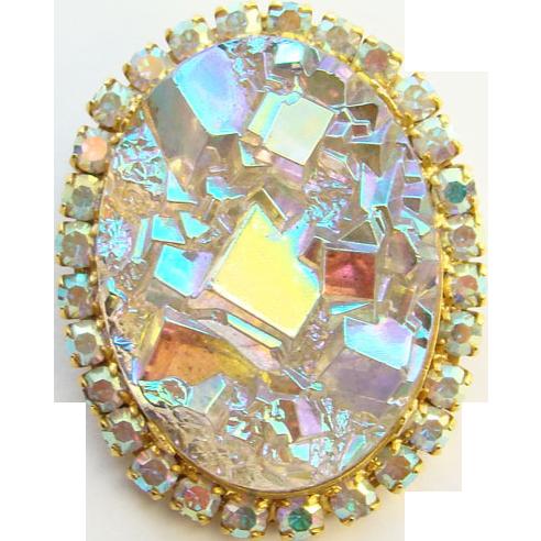 Juliana Oval Geode Crystal Quartz Brooch Pin Aurora Borealis DeLizza Elster