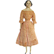C1850s Greiner Style 15 Inch Papier Mache Milliners Model Wood Doll Fabulous Original Dress