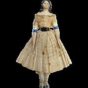 Antique C1850 Milliners Model Papier Mache Wood Doll Leather Body Long Sausage Curls 12.5 Inch
