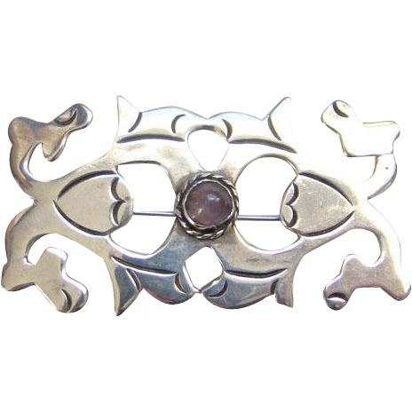 Taxco Mexico Amethyst Pin Brooch Signed Mexico Silver Mexican Jewelry