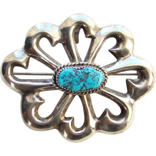 Vintage Nellie Tso Navajo Sterling Silver Turquoise Pendant Brooch Signed