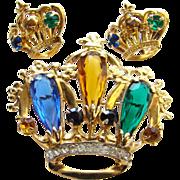 Vintage Sterling Silver Vermeil Rhinestone Crown Pin Matching Earrings Set Signed