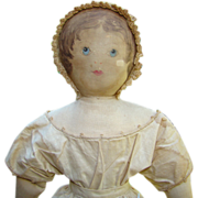 1800s Moravian Church Benefit Cloth Rag Doll Polly Heckewelder Painted Face 18 Inch