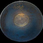 Antique New England Primitive Lathe Turned Wooden Dough Bowl Old Blue Milk Paint