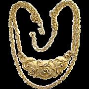 Vintage Crown Trifari 1970s Goldtone Double Chain Choker Necklace Signed