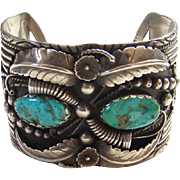Glen Willie Navajo Sterling Silver Turquoise Cuff Bracelet Signed GW Native American