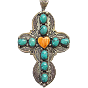 Native American Turquoise Spiny Oyster Heart Cross Pendant Sterling Silver Signed G