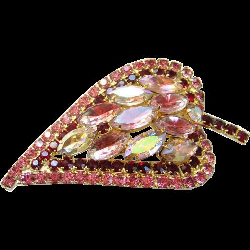 Vintage Amethyst and Pink Givre Rhinestone Leaf Brooch Aurora Borealis Navettes