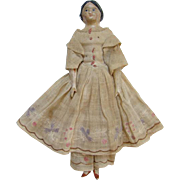 Antique Papier Paper Mache Milliners Model Doll Wood Leather Body Original Embroidered Outfit