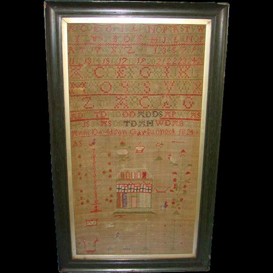 1824 Anne Davidson School Girl House Sampler Gargunnock Scotland Provenance