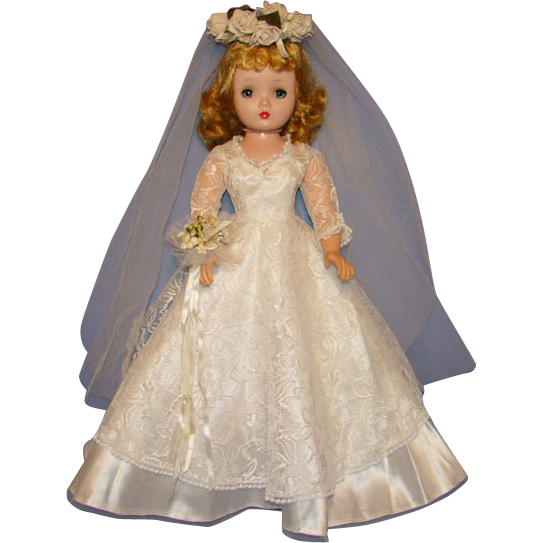 Vintage White Lace Satin Bride Gown for Madame Alexander Cissy Doll Gorgeous