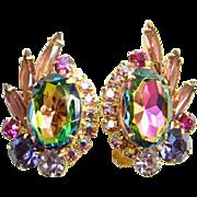 1964 Juliana Heliotrope Rhinestone Clip Earrings Verified Book Piece DeLizza Elster